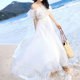 BOHEME - Off-Shoulder Maxi Chiffon Dress