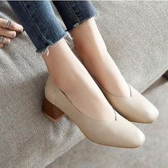 Freesia - 純色粗跟鞋