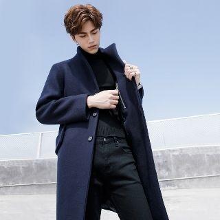 MRCYC - Stand Collar Plain Woolen Coat