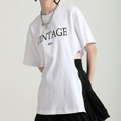 Ultra Modern - Short-Sleeve Lettering Cutout T-Shirt