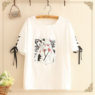 Kawaii Fairyland - Lace-Up Sleeve Print T-Shirt