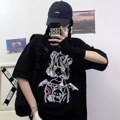 Chisan - Cartoon Print Elbow-Sleeve T-Shirt
