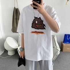 Antaeus - Printed Elbow-Sleeve T-Shirt
