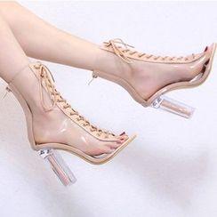 Niuna - 粗跟露趾短靴