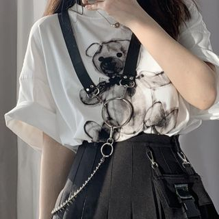 CIMAO - Faux Leather & Alloy Body Chain