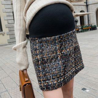 Mommystyle - Maternity Tweed Mini Straight-Fit Skirt