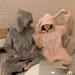 Rorah - Couple-Matching Fleece Hooded Pajama Jumpsuit