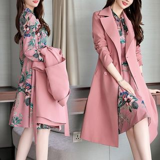 Everytime - Set: Double-Breasted Trench Coat + Floral Print Dress
