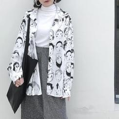 LINSI - Print Long-Sleeve Blouse / Turtleneck Long-Sleeve Top / Marled Midi Skirt