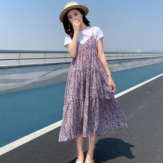 Hiccup - Maternity Set: Short-Sleeve T-Shirt + Floral Print Pinafore Dress