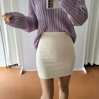 Seoul Fashion - Plain Pencil Miniskirt