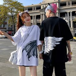 Mista Koko - Couple Matching Wings Print Elbow-Sleeve T-Shirt