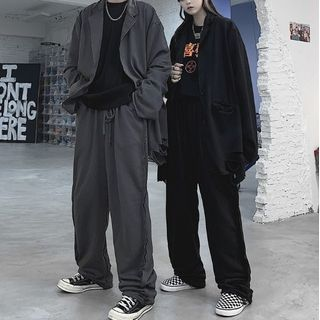 Malnia Home(マルニャホーム) - Couple Matching Ripped Button-Up Blazer / Jogger Pants