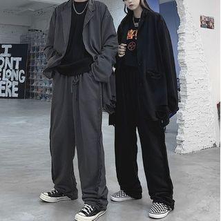 Malnia Home - Couple Matching Ripped Button-Up Blazer / Jogger Pants