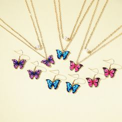 Cheermo - Set: Butterfly Drop Earring + Necklace