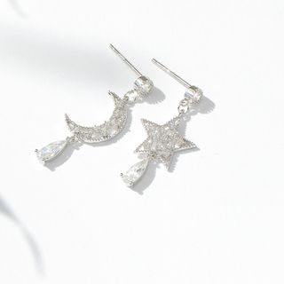 Zirajoy - 925 Sterling Asymmetric Rhinestone Drop Earring