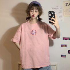 Sisyphi - Elbow-Sleeve Smiley Face T-Shirt