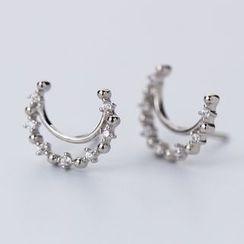 A'ROCH - 925 Sterling Silver Moon Stud Earring