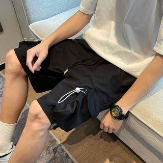 Freehop - High-Waist Plain Cargo Shorts