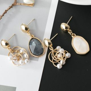 AOI ISLAND - Asymmetrical Faux Pearl Drop Earring