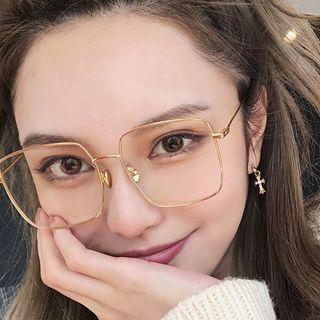 Aisyi - Oversized Square Metal Frame Eyeglasses