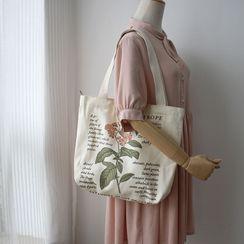 it happens - Floral Graphic Canvas Tote Bag