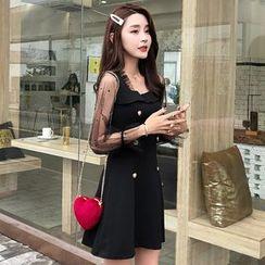 Ashlee - 假两件长袖A字迷你连衣裙