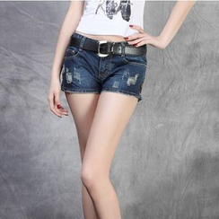 Denimot - Distressed Washed Denim Hot Pants