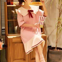 Sweetzer(スイーツァー) - Maternity Contrast Trim Elbow-Sleeve Pajama Dress