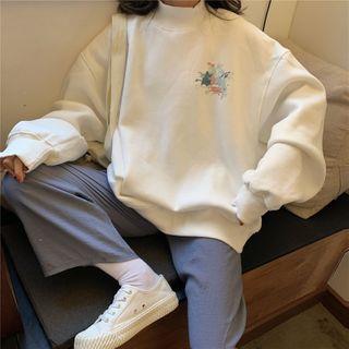 Juku Girls - Printed Oversized Mock-Neck Sweatshirt