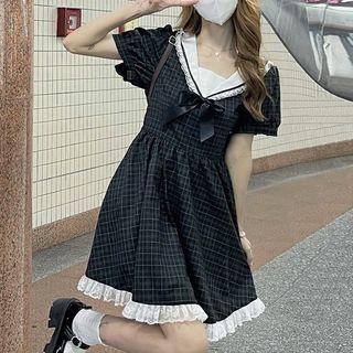 Sisyphi - Sailor Collar Lace Trim Plaid Mini A-Line Dress