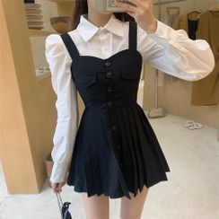 Windflower - Long-Sleeve Blouse / Pleated Mini A-Line Pinafore Dress