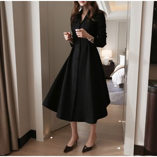 Merlene - Collared Single-Breasted Long-Sleeve Midi A-Line Dress
