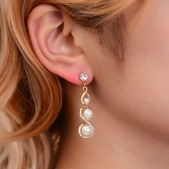 B.muse - Set: Faux Pearl Rhinestone Pendant Necklace + Drop Earring