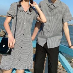 Tabula Rasa(タブララサ) - Couple Matching Gingham Short-Sleeve Mini A-Line Dress / Shirt