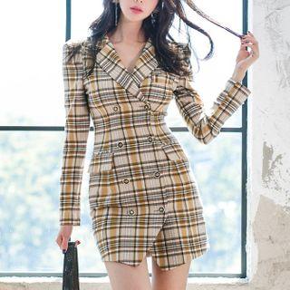 Dimanche - Plaid Double-Breasted Mini Blazer Dress