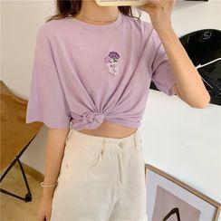 Dreamkura - Elbow-Sleeve Flower Print T-Shirt