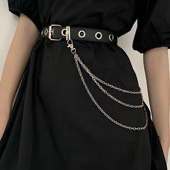 CIMAO - Faux Leather Belt / Layered Waist Chain / Set