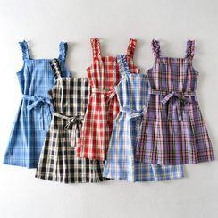 Indesi - Sleeveless Plaid A-Line Dress