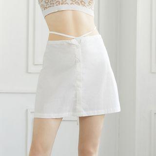 Cross-Strap Botton-Up Mini Skirt