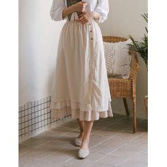 GOROKE - Floral Print Hem Lace-Layered Skirt