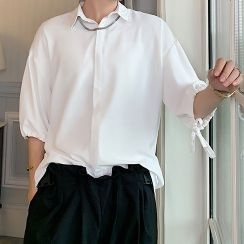 Bjorn - Plain Elbow-Sleeve Shirt