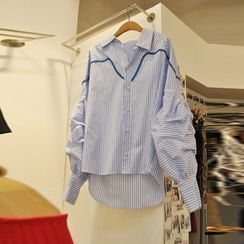 Kaypray(ケイプレイ) - Striped Lantern-Sleeve Shirt