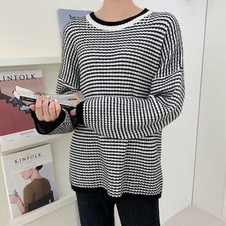 HOTPING - Striped Ringer Sweater