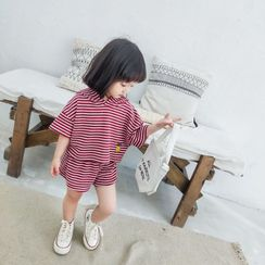 Ohori - Kids Set: Striped Hooded Elbow-Sleeve T-Shirt + Shorts