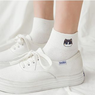 Cottonet - Set of 3 Pairs: Embroidered Cat Socks