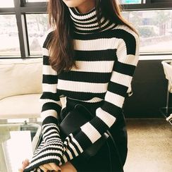 Ikas(イカス) - Turtleneck Striped Sweater