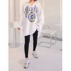 J-ANN - Lace-Up Printed Oversized Hoodie
