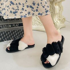GRUNE - Two-Tone Fluffy Slippers