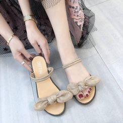 FiE FiE(フィエフィエ) - Bow Accent Slide Sandals